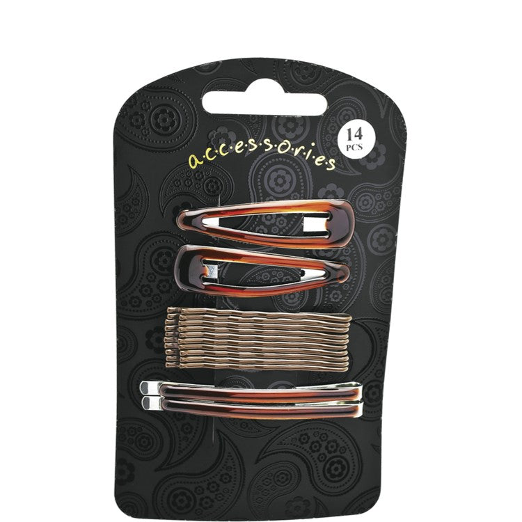 Fourteen piece brown hair clip set