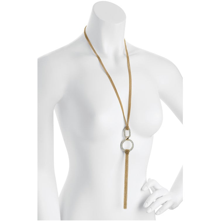 Gold colour crystal chain drop tassel necklace