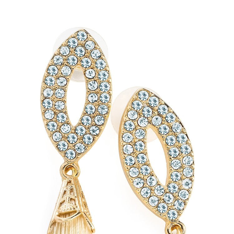 Gold colour crystal cream colour thread tassel drop earring