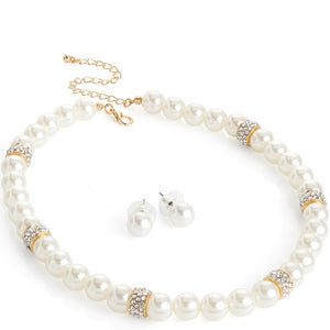 Gold colour crystal cream pearl effect bead necklace and earring set