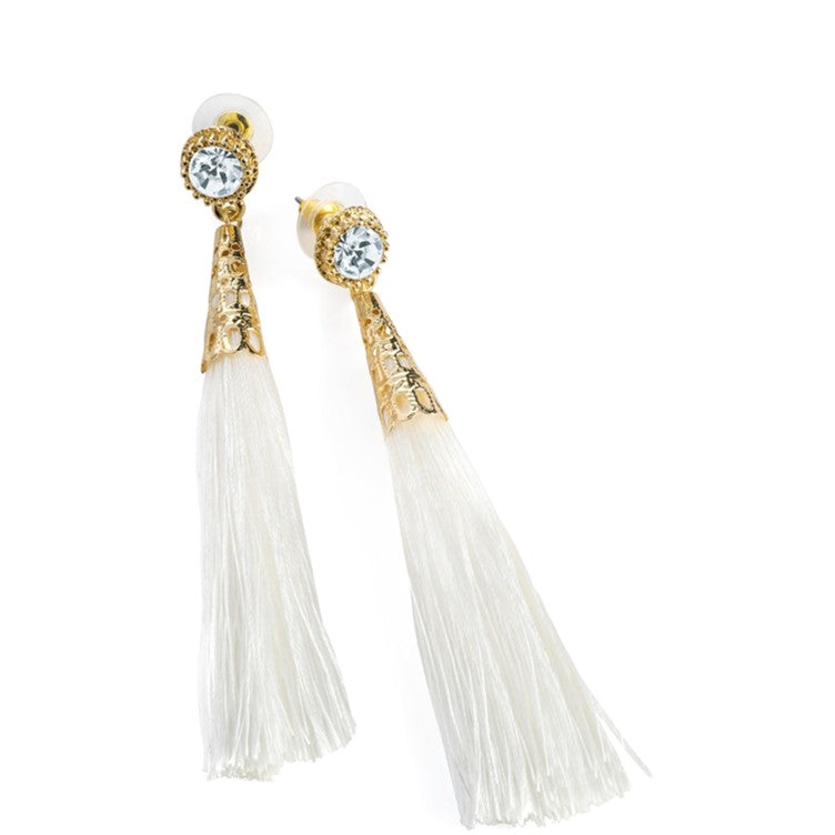 Gold colour crystal white thread tassel earring
