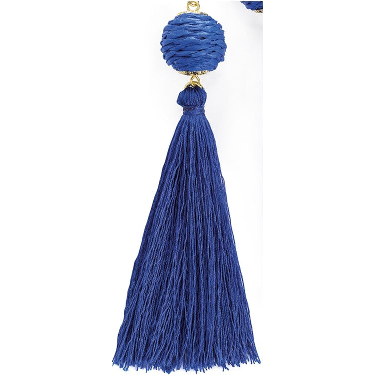 Gold colour blue tone cord thread tassel earring