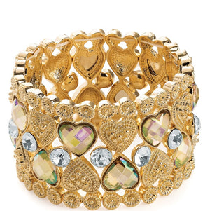 Gold colour crystal & AB crystal effect heart bead elasticated bracelet
