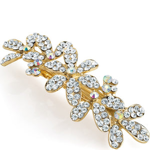Gold colour crystal & AB crystal flower design hair barrette