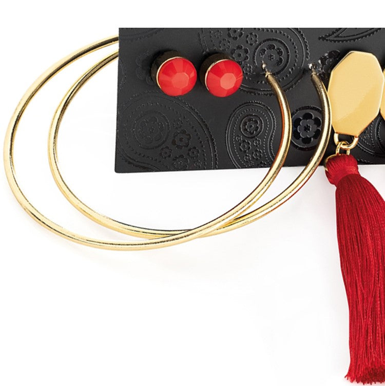 Gold colour stud, hoop & red tassel drop earring set
