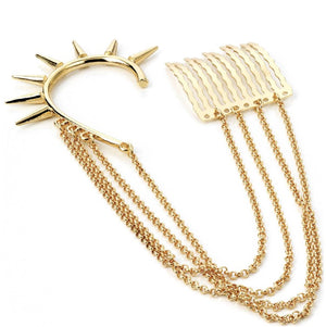 Gold colour stud look ear hook with chain connected comb