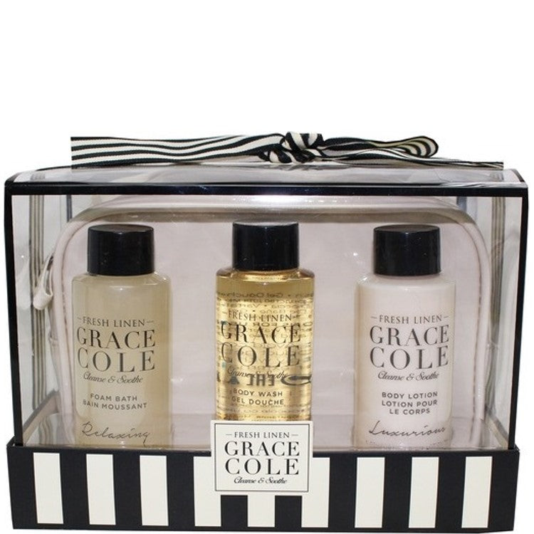 Grace Cole Fresh Linen 4 Piece Travel Gift Set