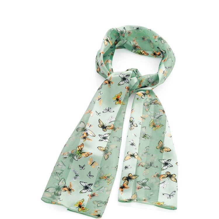 Green tone butterfly design satin stripe style scarf