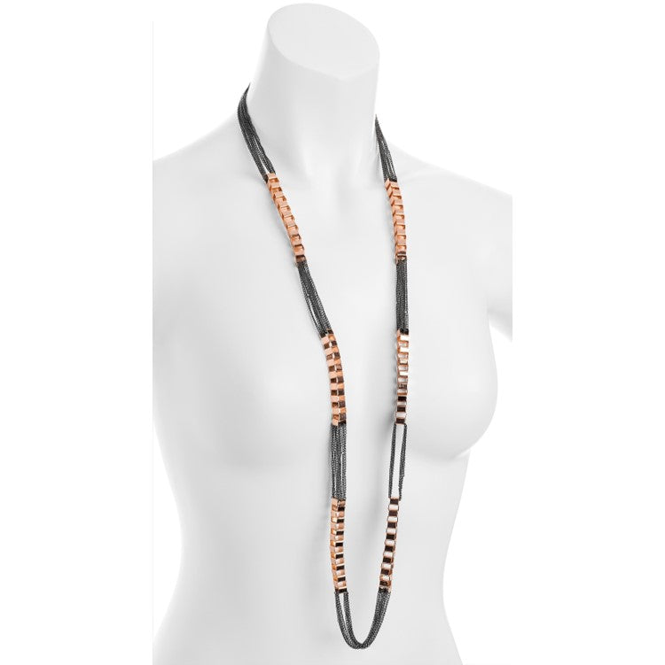 Hematite and rose gold colour chain necklace