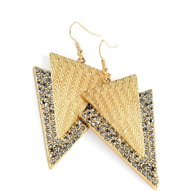 Hematite and Gold colour crystal triangle design drop earring