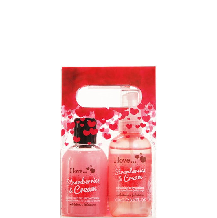 I Love... Delicious Strawberries & Cream Duo Set Bubble Bath & Body Spritzer 100ml