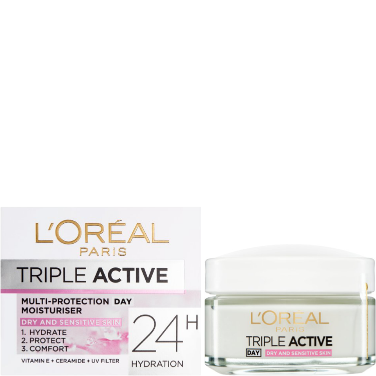 L'Oreal Paris Triple Active Day Moisturiser Dry Skin 50ml