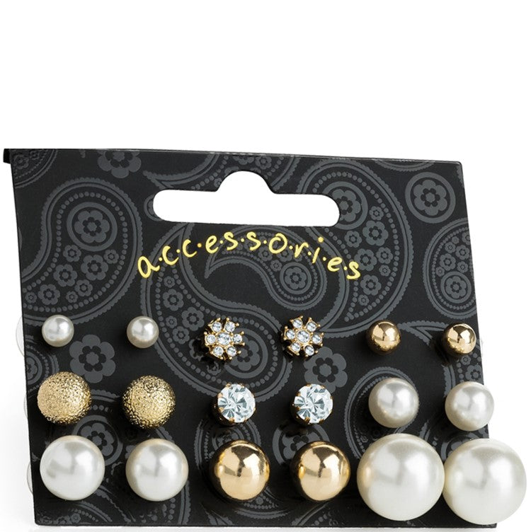 Nine pairs gold and cream pearl colour crystal stud earring set