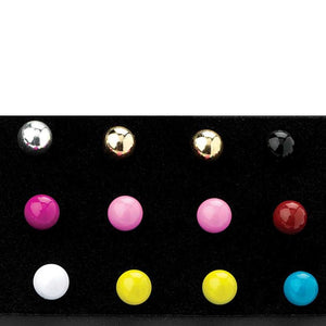 Nine pairs assorted colour stud earring set