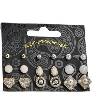 Nine pairs gold colour white tone stud earring set