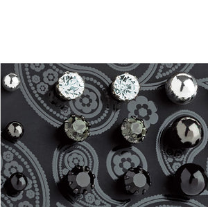 Nine pairs silver, hematite & black enamel colour crystal stud earring set