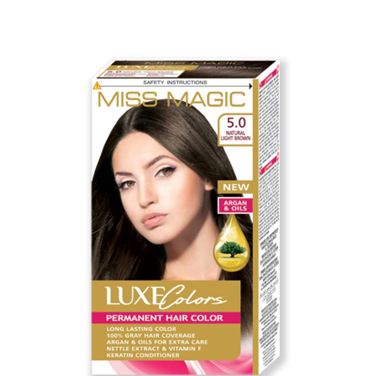"Permanent Hair Colour ""Miss Magic Luxe Colors"" 108g № 5.0 Natural Light Brown"