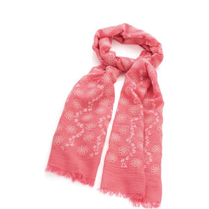 Pink and gold colour glitter flower print scarf
