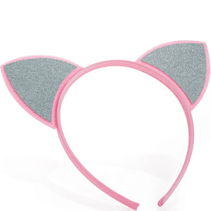 Pink and silver colour glitter effect headband
