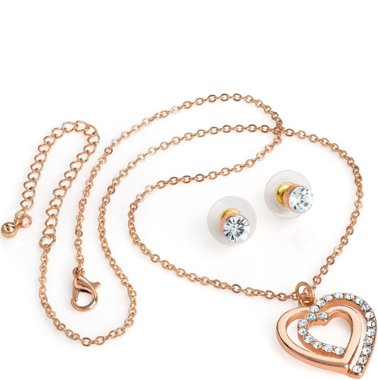 Rose gold colour crystal heart design chain necklace & stud earring set