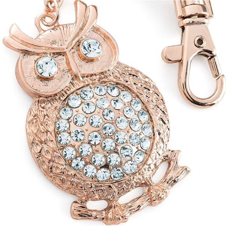 Rose gold colour crystal owl design keyring