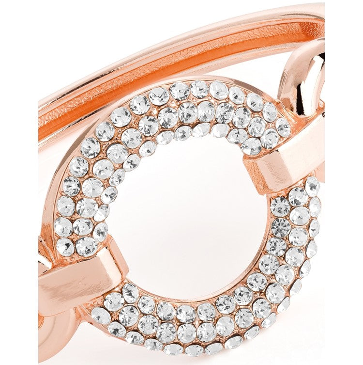 Rose gold colour crystal round design hinge bangle