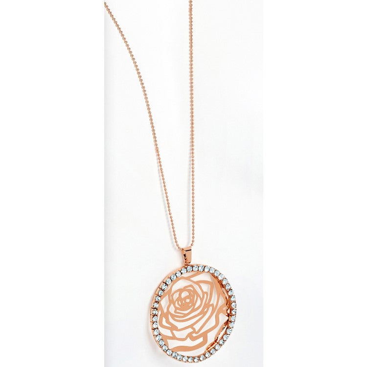 Rose gold colour crystal round flower design chain necklace