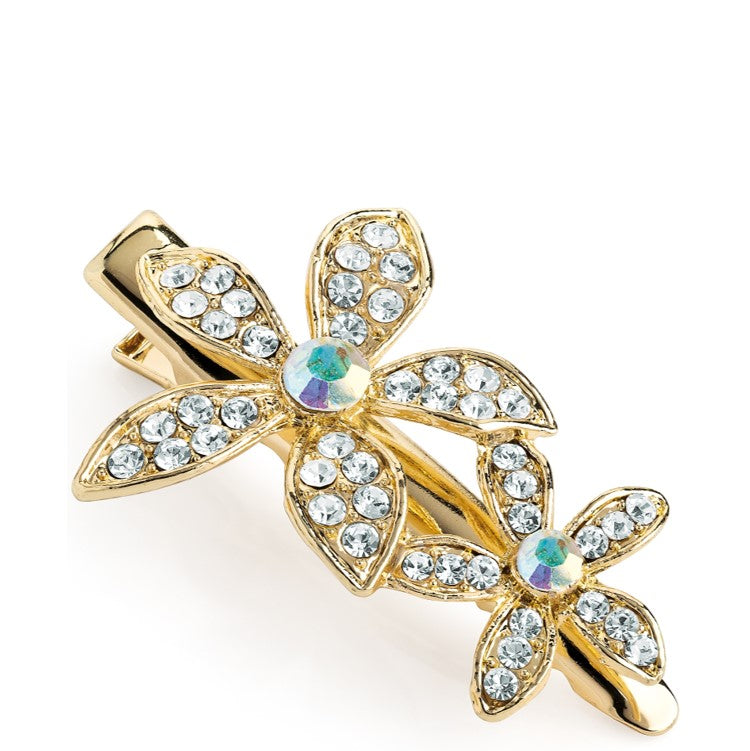 Shiny gold colour crystal & AB crystal flower design hair clip