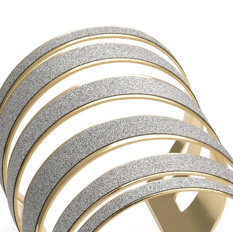 Shiny gold colour silver glitter cuff bangle