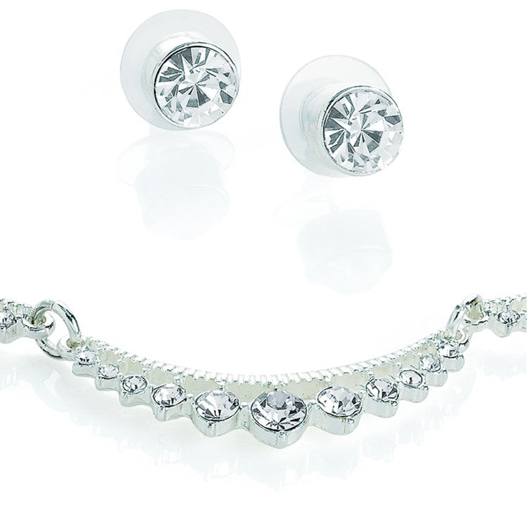 Silver colour crystal choker necklace and stud earring set