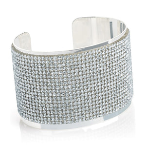 Silver colour crystal cuff bangle
