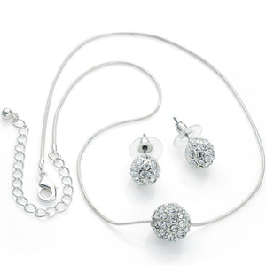 Silver colour crystal double ball chain necklace and earring set