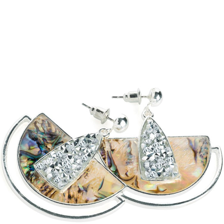 Silver colour shell effect drop earring