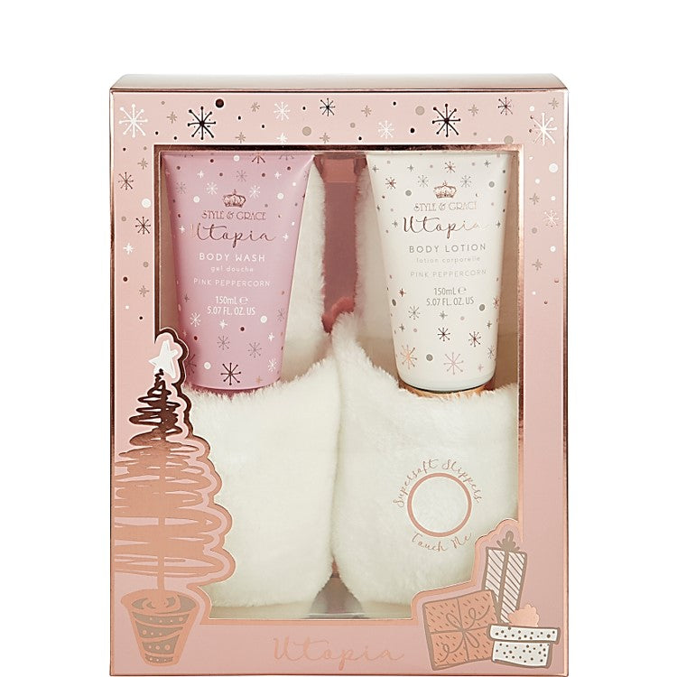 Style & Grace Utopia Fluffy Slipper Set