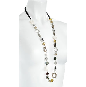 Shell look cord bead necklace
