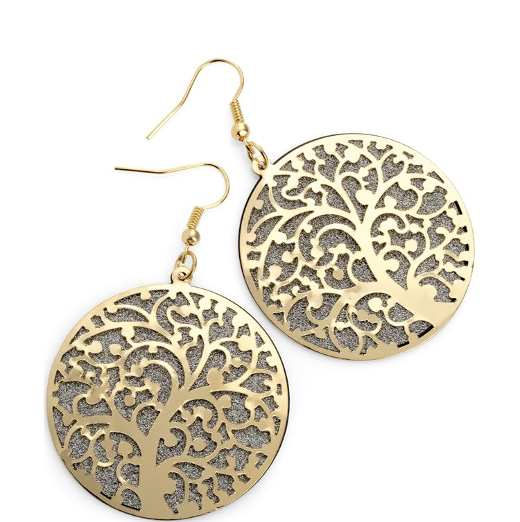 Shiny gold and silver colour round tree design earring