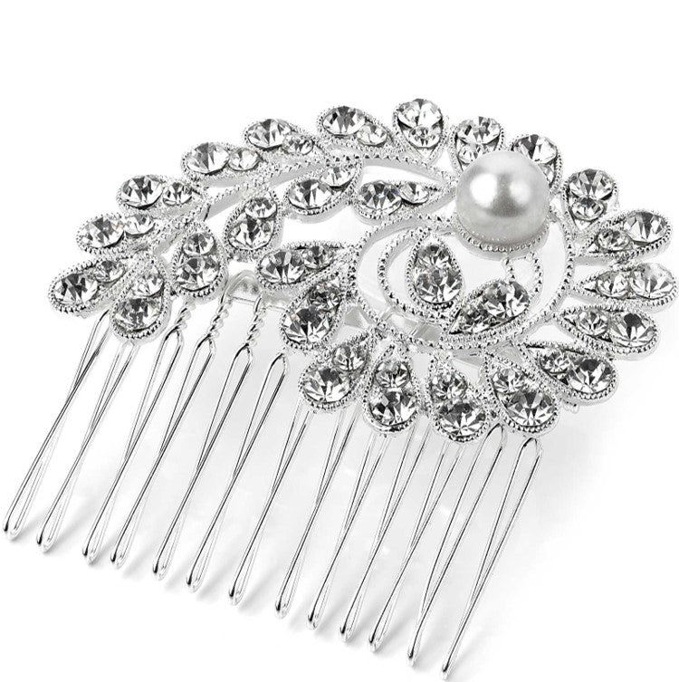 Silver and white pearl colour crystal wire hair comb