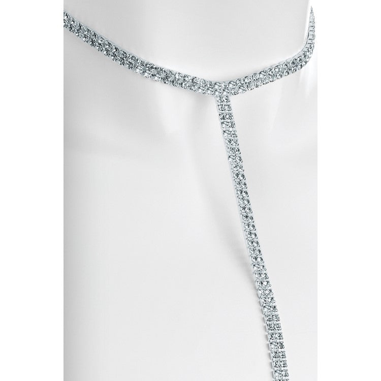 Silver colour crystal choker drop chain necklace