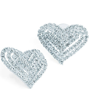 Silver colour crystal heart design earrings