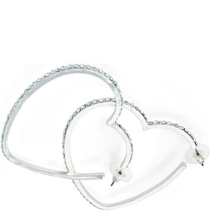 Silver colour crystal heart design hoop earring