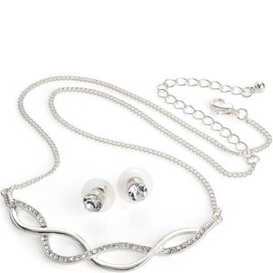Silver colour crystal platted look chain necklace & stud earring set