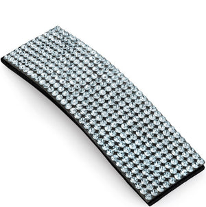 Silver colour crystal rectangle shape hair snap clip