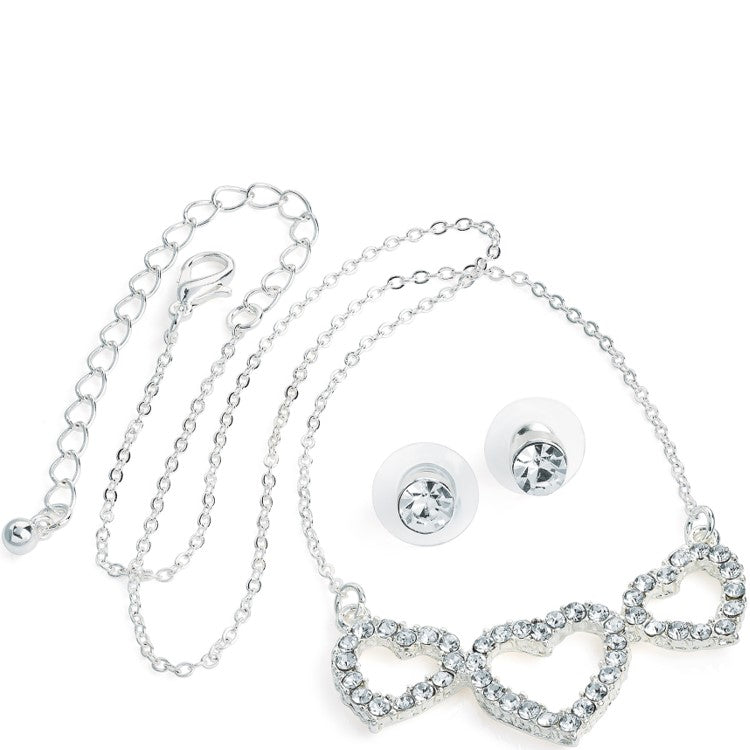 Silver colour crystal three heart design chain necklace and earring set