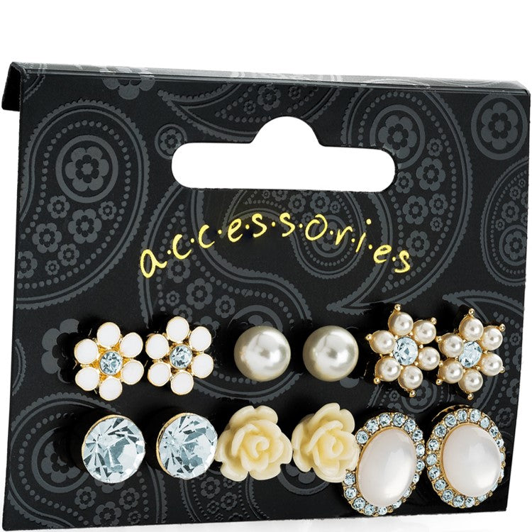 Six pairs gold colour crystal cream pearl effect stud earring set