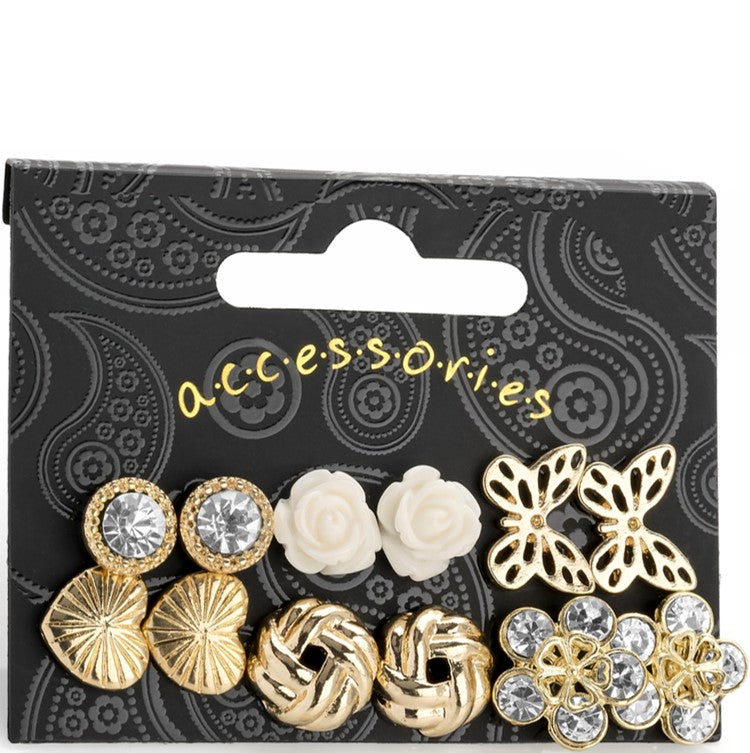 Six pairs gold colour crystal, flower, heart, butterfly & stud earring set