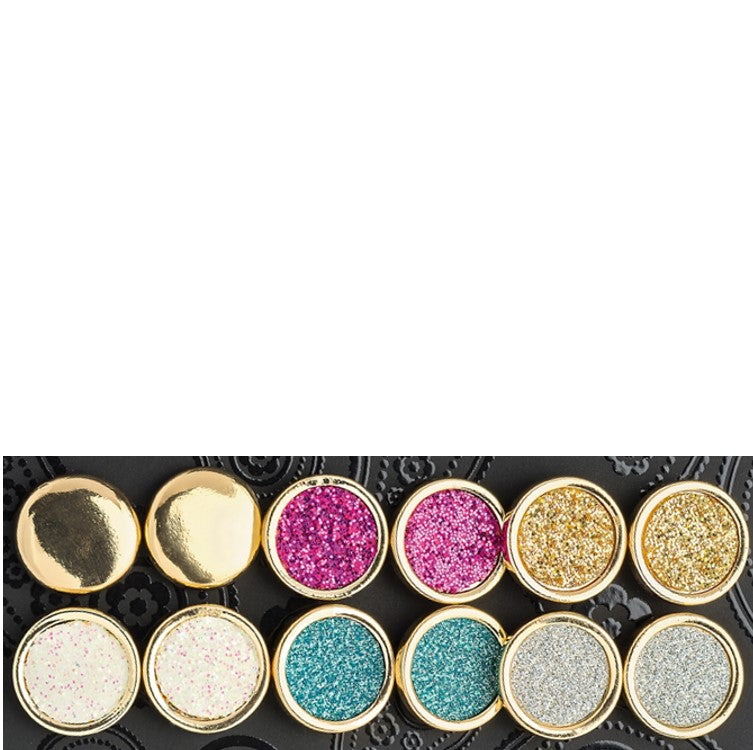 Six pairs gold colour glitter effect stud earring set