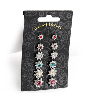 Six pairs silver colour crystal stud earring set