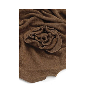 Stylish stone chocolate brown colour triangle scarf with centre flower
