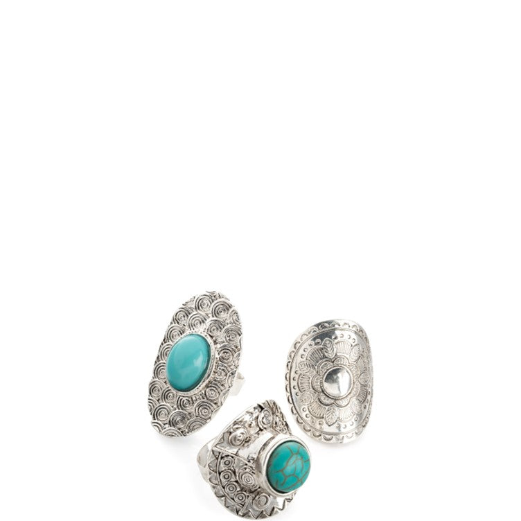 Three pairs antique silver & turquoise colour bead adjustable ring set
