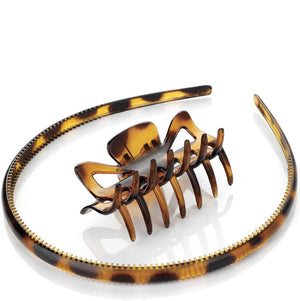 Two piece tortoise shell effect headband & claw clip hair accessory set